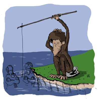 Un singe en rivière